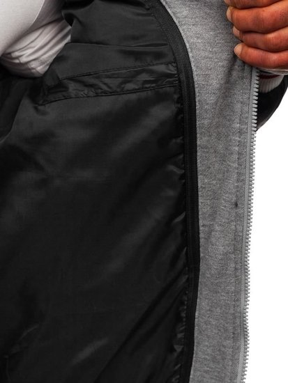 Čierna pánska prešívaná športová prechodná bunda Bolf JK395