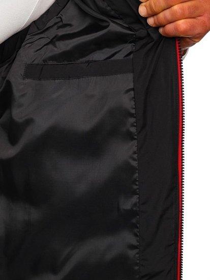 Čierna pánska prešívaná vesta s kapucňou Bolf 5898