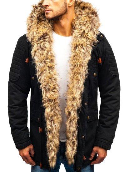 Čierna pánska zimná bunda parka BOLF 33192