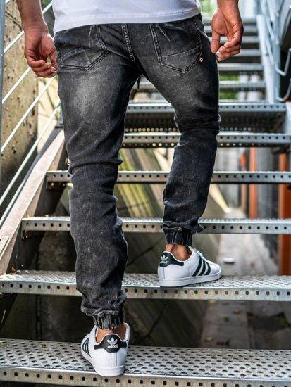Čierne pánske rifľové joggery Bolf KA509