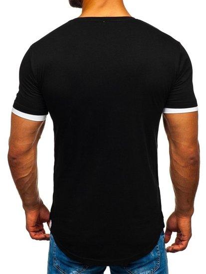 Čierne pánske tričko bez potlače Bolf 10999