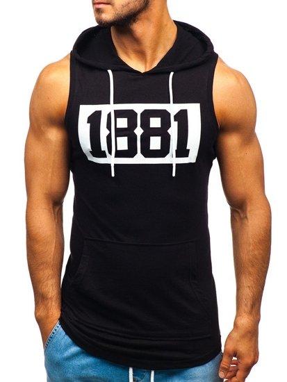Čierne pánske tričko bez rukávov s potlačou a kapucňou BOLF 1281