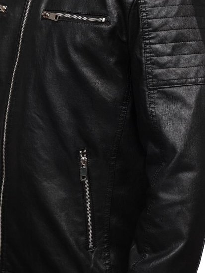 Čierno-červená pánska koženková bunda s kapucňou Bolf 5821