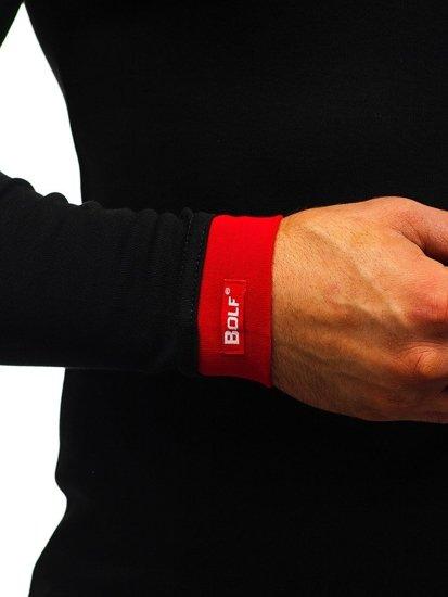 Čierno-červená pánska mikina s kapucňou BOLF 03-3