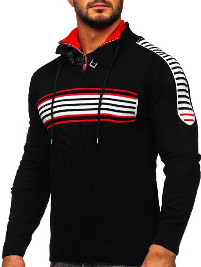 Čierno-červený pánsky sveter BOLF 1013