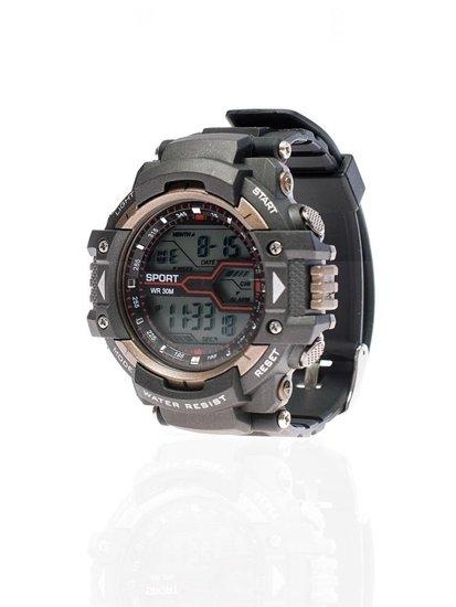Čierno-hnedé modré pánske hodinky BOLF 8338