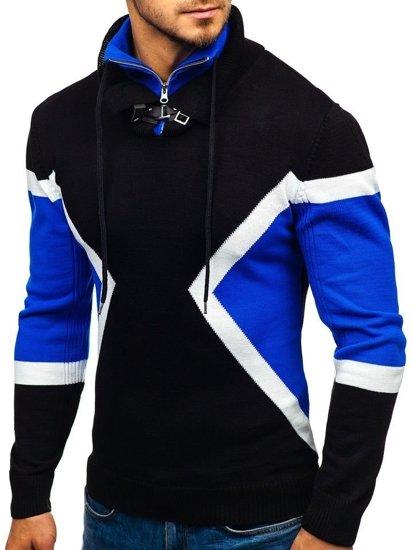 Čierno-modrý pánsky sveter BOLF 1011