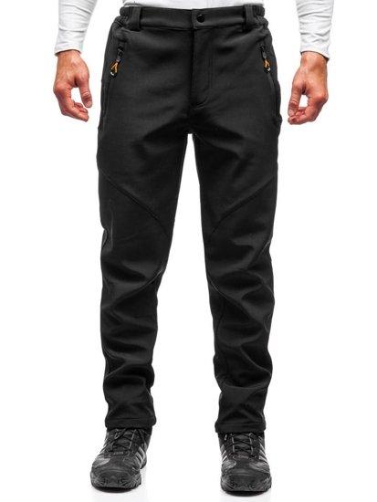 Čierno-oranžové pánske softshellové turistické nohavice BOLF 5454