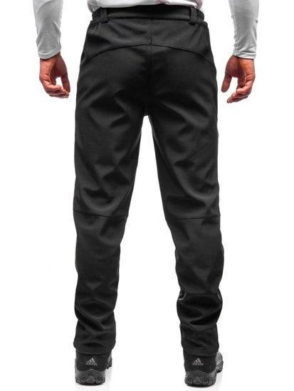 Čierno-žlté pánske softshellové turistické nohavice BOLF 5454