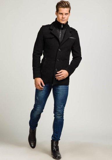 Čierny pánsky kabát Bolf 8856C