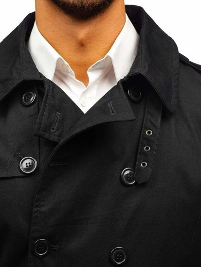 Čierny pánsky plášť BOLF 5710