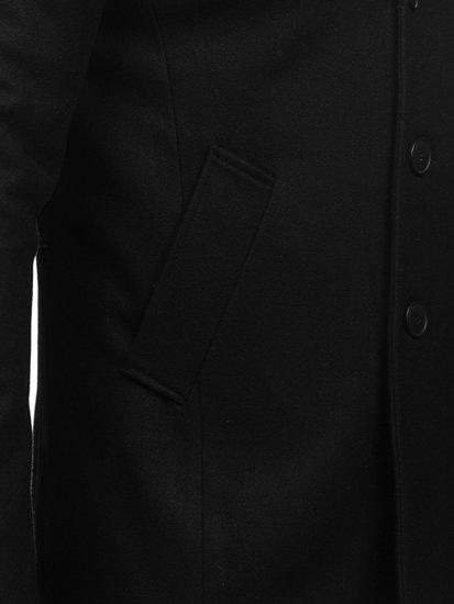 Čierny pánsky zimný dvojradový kabát s vysokým golierom Bolf 8801