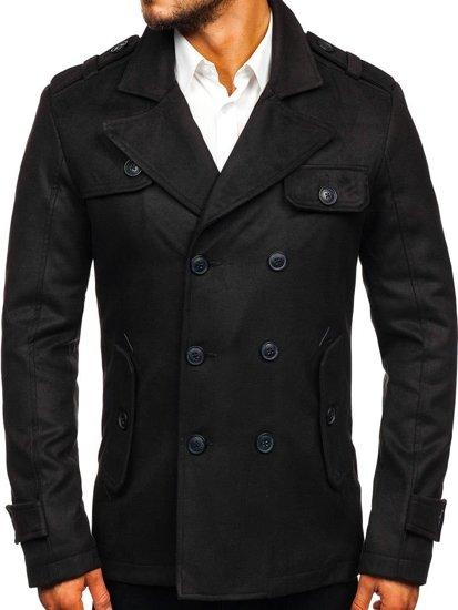 Čierny pánsky zimný kabát BOLF 3123