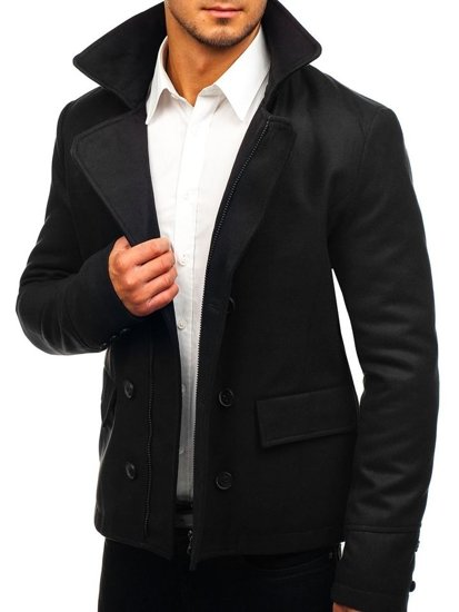 Čierny pánsky zimný kabát BOLF 3130