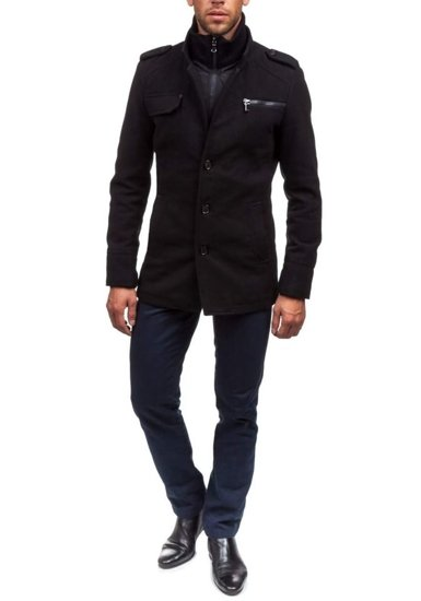 Čierny pánsky zimný kabát Bolf 8856B