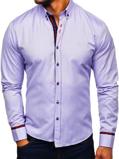 Fialová pánska elegantá košeľa s dlhými rukávmi BOLF 5801-A