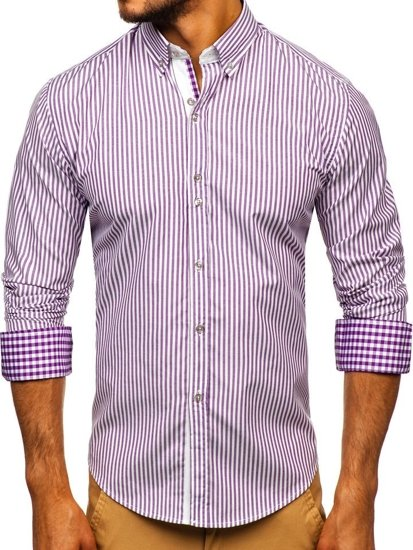 Fialová pánska prúžkovaná košeľa s dlhými rukávmi Bolf 9711