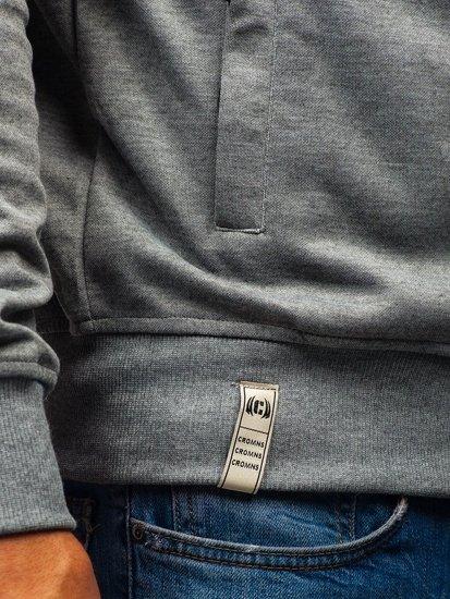 Grafitovo-šedá pánska mikina s kapucňou BOLF T955