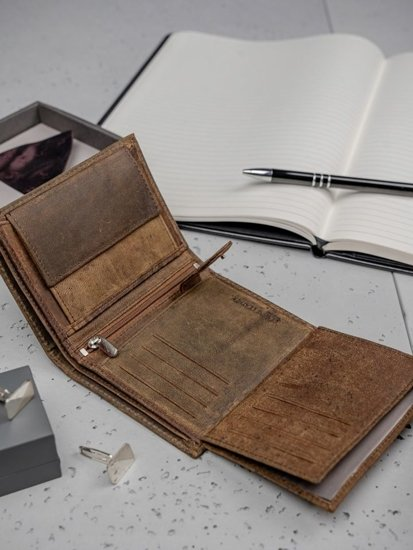 Hnedá pánska kožená peňaženka 3132
