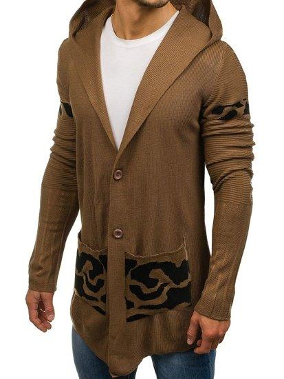 Hnedý pánsky predĺžený rozopínací sveter s kapucňou BOLF 2123
