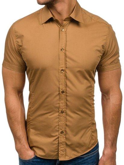 Kamelové pánska elegantá košeľa s krátkymi rukávmi BOLF 7501