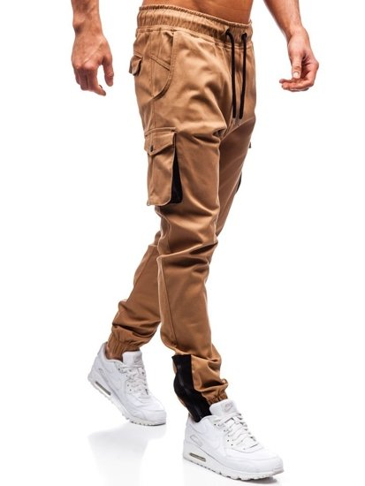 Kamelové pánske kapsáčové joggery BOLF 0705