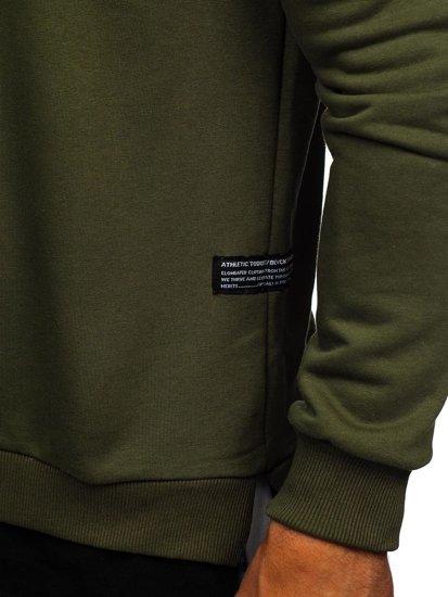 Khaki pánska mikina bez kapucne s potlačou BOLF 11116