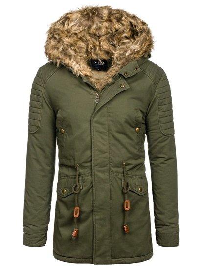 Khaki pánska zimná bunda parka BOLF 33192
