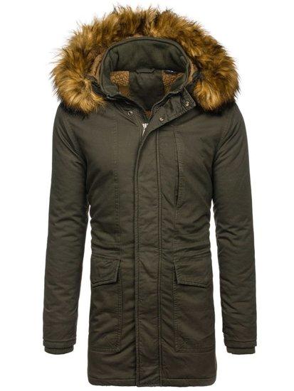 Khaki pánska zimná bunda parka BOLF R109