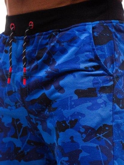 Kobaltové maskáčové pánske teplákové kraťasy BOLF 300118