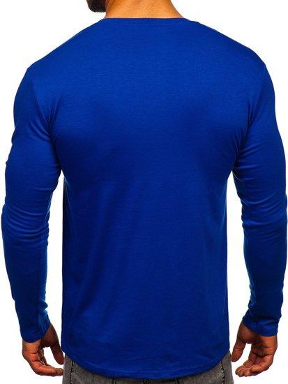Kobaltové pánske tričko s dlhými rukávmi bez potlače Bolf 2088L