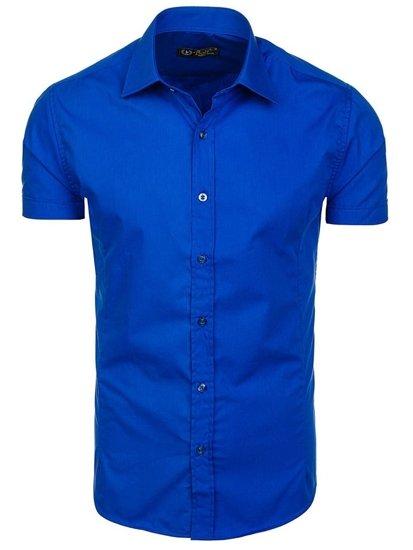 Kráľovský modrá pánska elegantá košeľa s krátkymi rukávmi BOLF 7501
