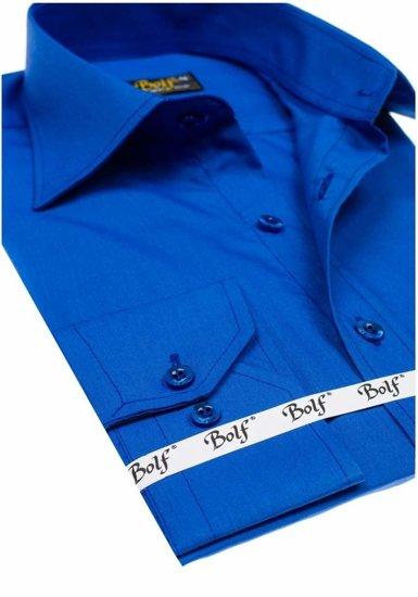 Kráľovsky modrá pánska elegantná košeľa s dlhými rukávmi BOLF 1703