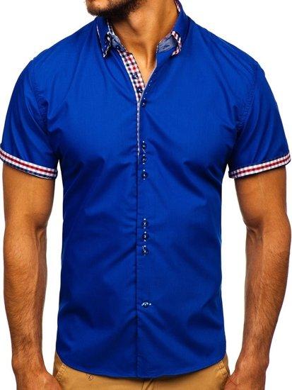 Kráľovsky modrá pánska elegantná košeľa s krátkymi rukávmi BOLF 3507