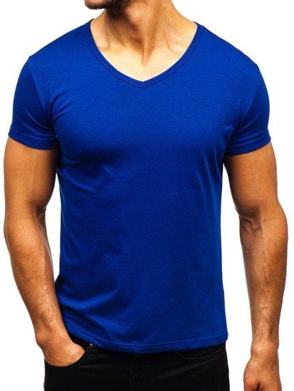 Kráľovský modré pánske tričko bez potlače s výstrihom do V BOLF AK888A