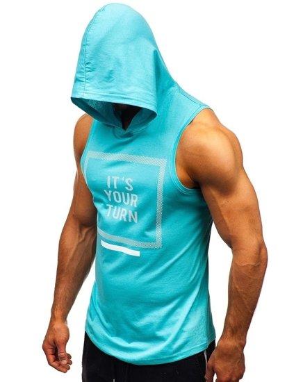 Mätové pánske tričko bez rukávov s potlačou a kapucňou BOLF 1280