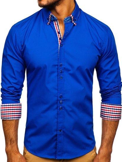 Modrá pánska elegantná košeľa s dlhými rukávmi Bolf 0926