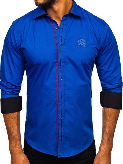 Modrá pánska elegantná košeľa s dlhými rukávmi Bolf 1769-A