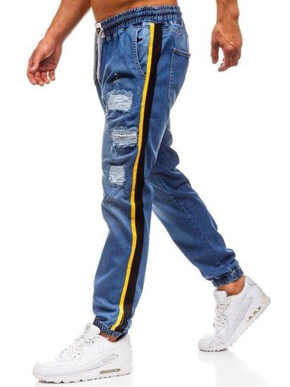 Modré pánske riflové baggy nohavice BOLF 2041