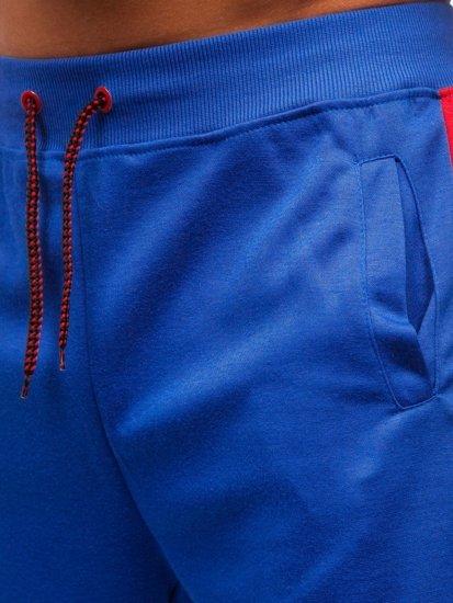 Modré pánske teplákové kraťasy BOLF 81006