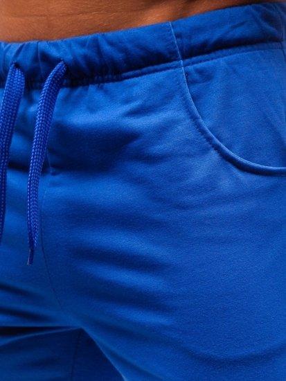 Modré pánske teplákové kraťasy BOLF B1002