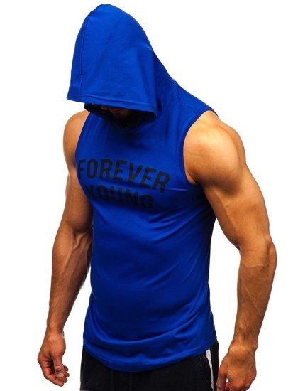 Modré pánske tričko bez rukávov s potlačou a kapucňou BOLF 1286