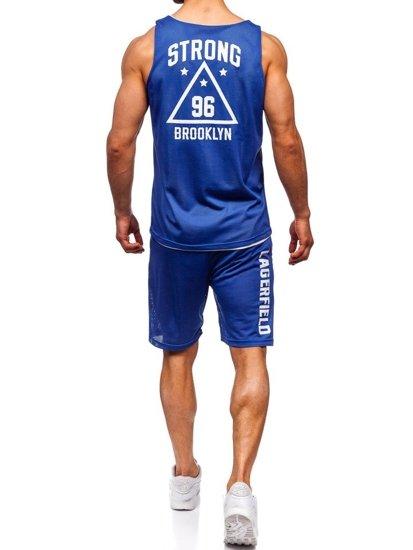 Modrý pánsky komplet: tričko + kraťasy  BOLF 100779