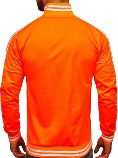 Oranžová pánska mikina na zips bez kapucne retro style Bolf 11113