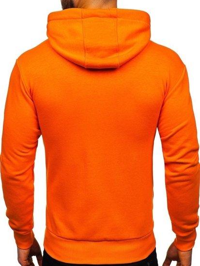 Oranžová pánska mikina s kapucňou Bolf 1004