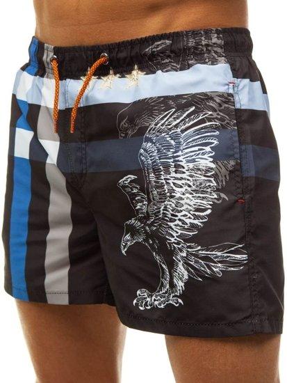 Pánsky plážový komplet plážové tričko + čierno-modré kúpacie šortky BOLF 2120