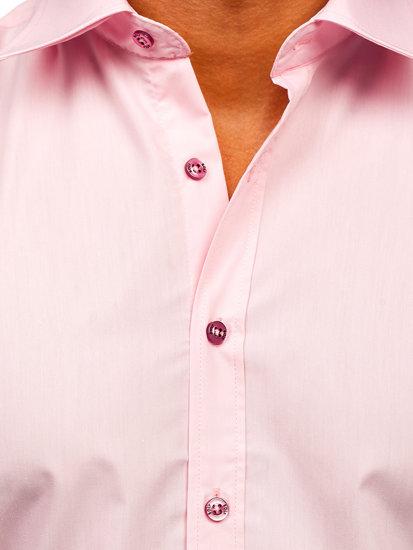 Ružová pánska elegantá košeľa s krátkymi rukávmi BOLF 7501
