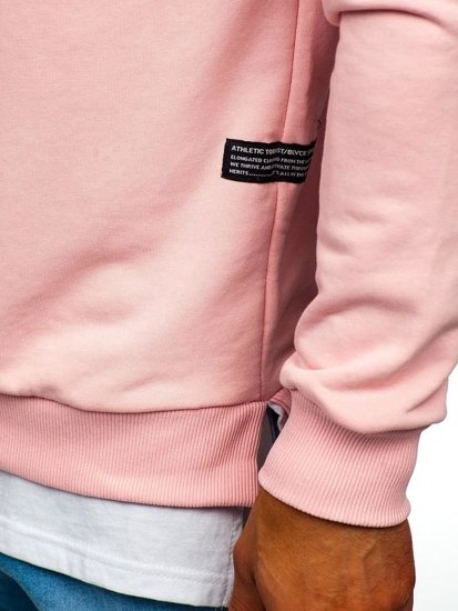 Ružová pánska mikina bez kapucne s potlačou BOLF 11116