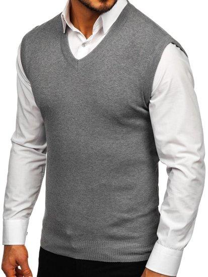 Šedá pánska pletená vesta Bolf H1939