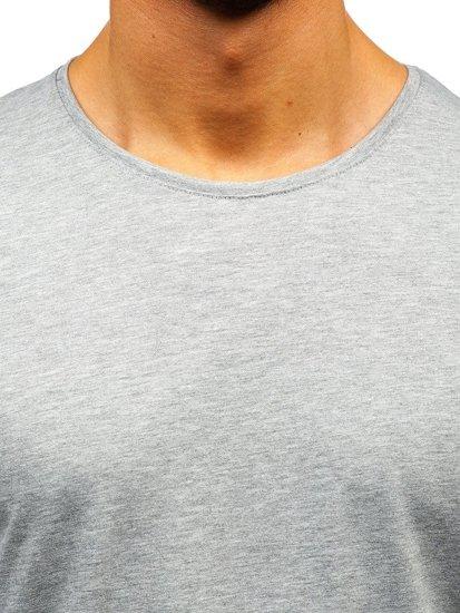 Šedé pánska tričko s dlhými rukávmi bez potlače BOLF 172007
